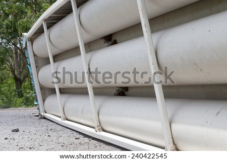 truck accident  on road,Overturned Truck,Thailand on 25, June 2014 - stock photo