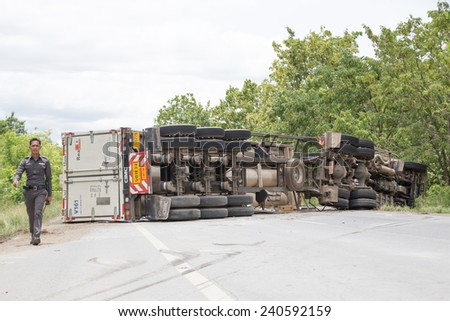 truck accident  on road,Thailand on 25 June 2014 - stock photo