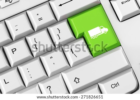 Truck as symbol for online delivery on a green keyboard key (3D Rendering)