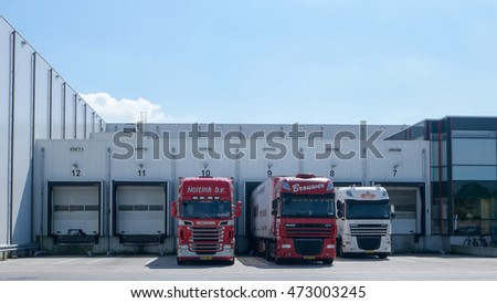 Truck at the loading dock outside a fish industry freez factory August 206 Urk Netherlands