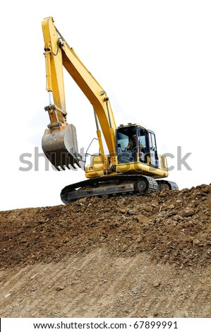 Truck backhoe Soil excavation and soil movement. The picture shows a line with slope soil. In construction site - stock photo