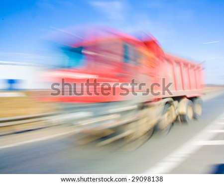Truck Blurred up to invisibility. Speed!!! - stock photo