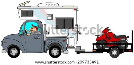 Truck & camper pulling ATV's - stock photo