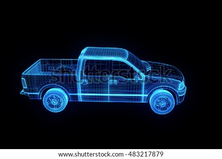 Truck Car in Hologram Wireframe Style. Nice 3D Rendering.