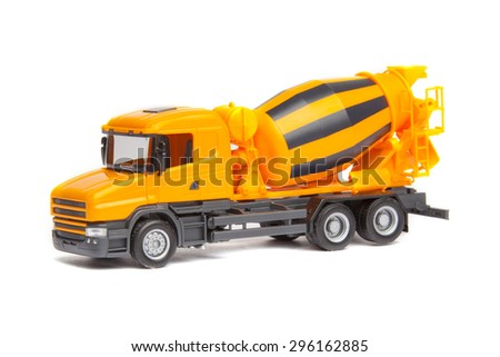 truck concrete mixer isolated on white background - stock photo