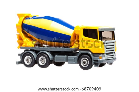 truck concrete mixer isolated over white background - stock photo
