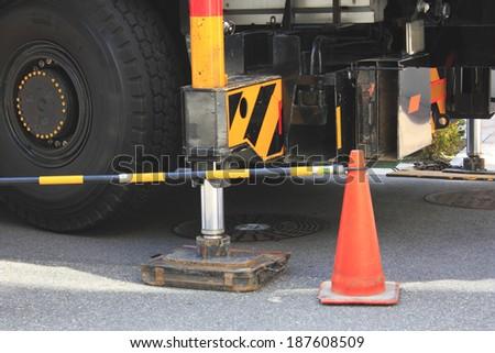 Truck crane - stock photo
