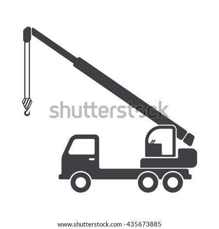truck crane icon Vector Illustration on the white background.