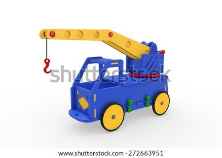 Truck Crane - Wooden Toys - stock photo