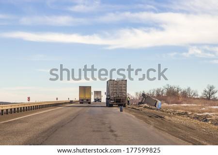 Truck crash on a shoulder of freeway - stock photo