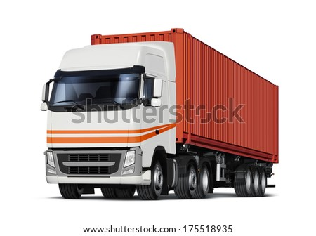 truck delivers freight in the form of container, isolated with path - stock photo
