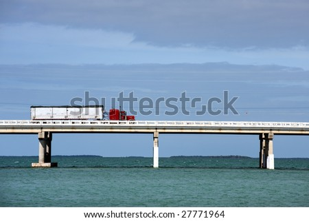 Truck driving on Bahia Honda bridge of Overseas highway, Florida Keys - stock photo