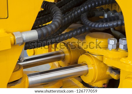 Truck engine Shock absorber close up - stock photo