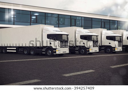 Truck fleet - stock photo