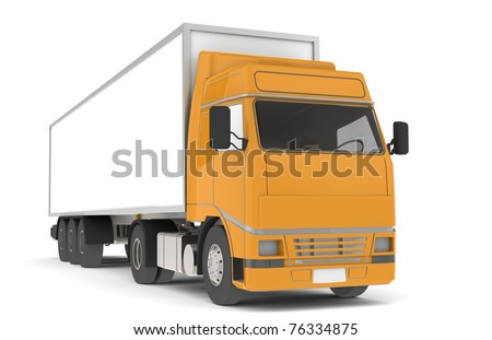 Truck. Front view of a Semi Truck Trailer. Part of warehouse series. - stock photo