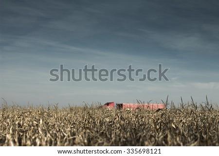 Truck going thru the fields road - stock photo