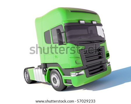 Truck green cab - stock photo