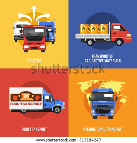 Truck icons flat set with logistics radioactive materials food international transport isolated  illustration - stock photo