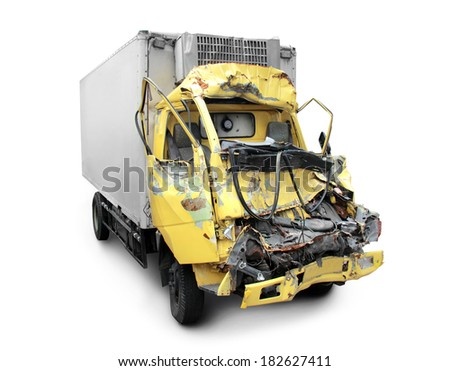 truck in an accident isolated on a white background - stock photo