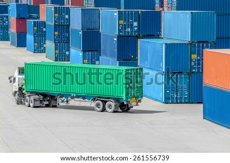 Truck in container depot in import and export area at port. - stock photo