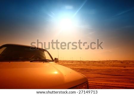 truck in desert - stock photo