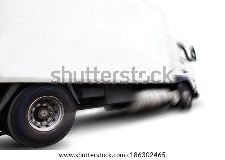 Truck isolated over white background .Motion blur.Transport of commodity - stock photo