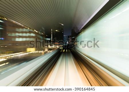 Truck light trail of train - stock photo