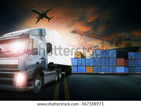 truck loading container in ship port and freight cargo plane flying for logistic and transport business - stock photo