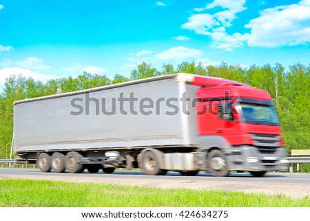 Truck on a highway in Moscow region, Russia - stock photo