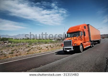 Truck on freeway - stock photo