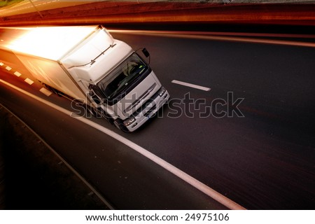 truck on highway - stock photo