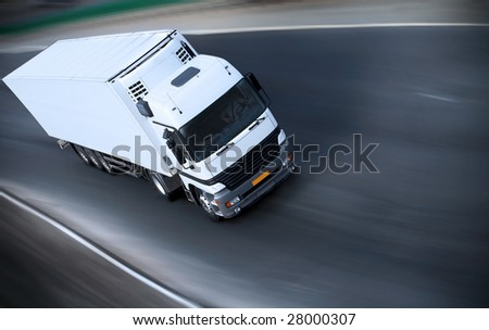truck on motorway - see other trucks in my portfolio - stock photo
