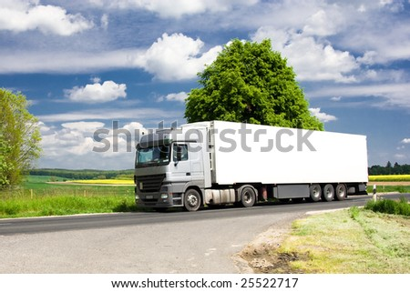 truck on road 8. - stock photo
