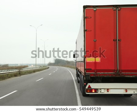 Truck on road. Delivery and shipping concept.