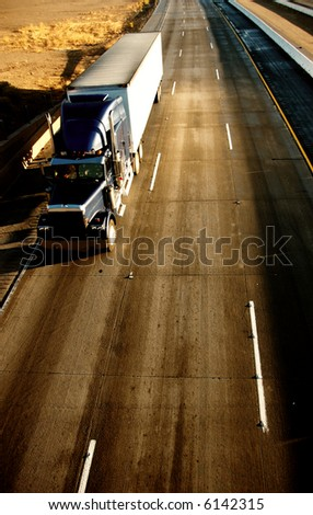 truck on the highway - stock photo