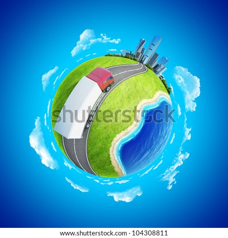 Truck on the highway heading to the city on horizon. Mini planet concept. Delivery, transportation expedition concept. Earth collection. - stock photo