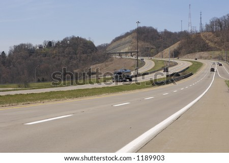 Truck on the Open Highway (wide view) with copy space - stock photo