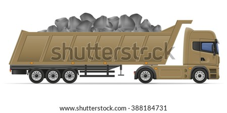 truck semi trailer delivery and transportation of construction materials concept illustration isolated on white background - stock photo