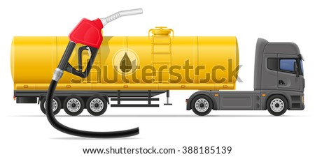 truck semi trailer delivery and transportation of fuel for transport concept illustration isolated on white background - stock photo