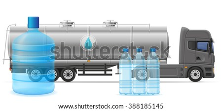 truck semi trailer delivery and transportation of purified drinking water concept illustration isolated on white background - stock photo