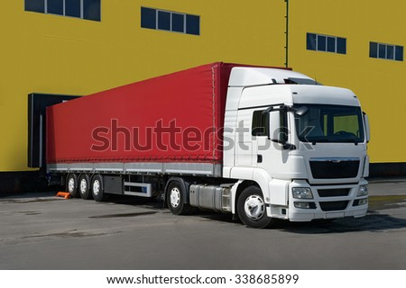 truck standing at the warehouse, unloaded