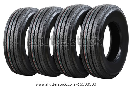 Truck tire stack. - stock photo
