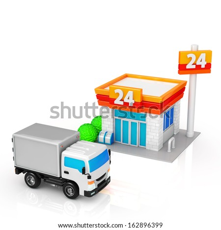 Truck to be delivered to the convenience store - stock photo
