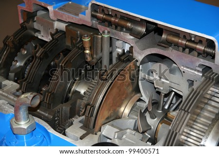 Truck transmission part. Truck gearbox part. - stock photo