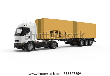 Truck transport a big cardboard box isolated
