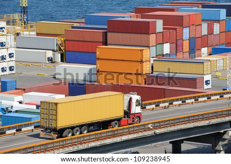truck transport container to a warehouse near the sea