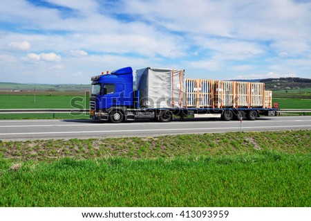 Truck transportation goods delivery spedition - stock photo