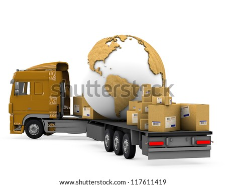 Truck transporting parcels and the planet Earth on a white background with clipping path. - stock photo