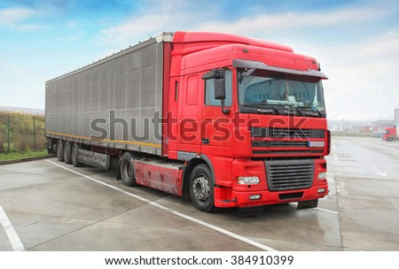 Truck - Trucking, Freight Transport - stock photo