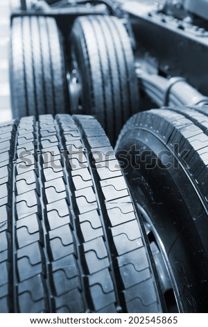 truck tyre - stock photo